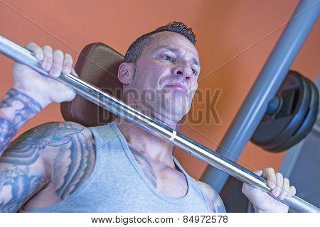 Man Making Military Press - Workout Routine .