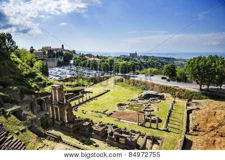 Aerial view of ancient roman amphitheatre, Volterra, Province of Pisa, Tuscany, Italy