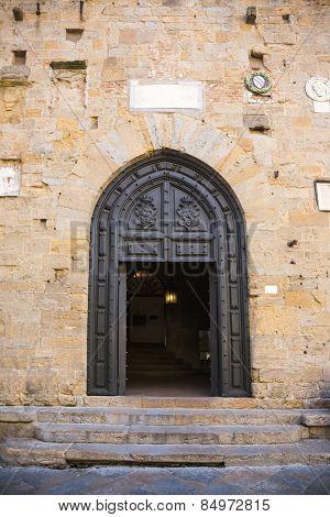 Entrance of a palace, Palazzo Dei Priori, Volterra, Province of Pisa, Tuscany, Italy