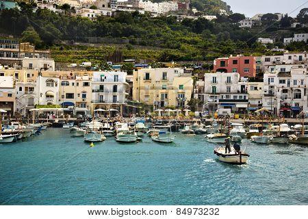 Boats at a harbor, Capri, Campania, Italy