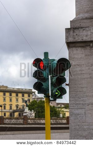 Close-up of a traffic light, Rome, Rome Province, Lazio, Italy