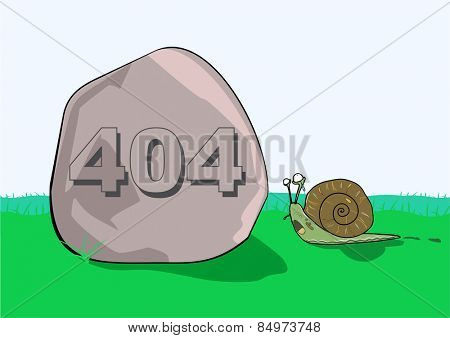 Illustrative representation of 404 error message on rock in front of a snail