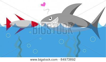Illustrative representation of shark meets a bomb