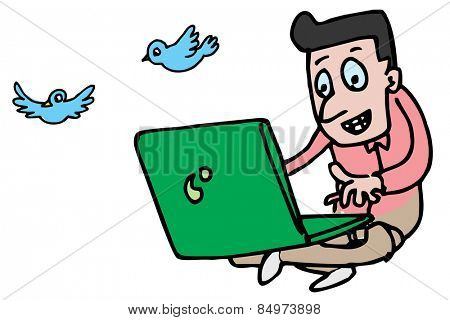 Illustrative representation of a man on laptop