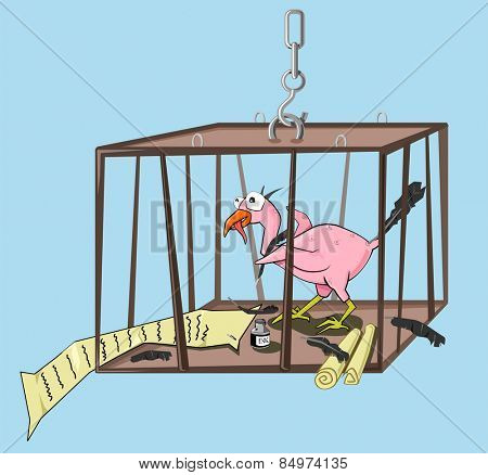 Illustrative representation of a bird behind the cage writes its story