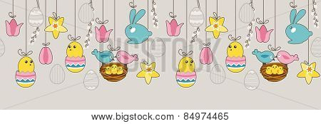 Seamless horizontal pattern with hanging eggs,rabbits and birds