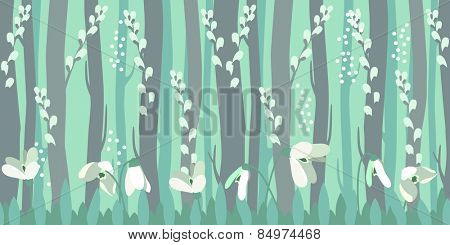 Seamless horizontal pattern with spring snowdrops in forest