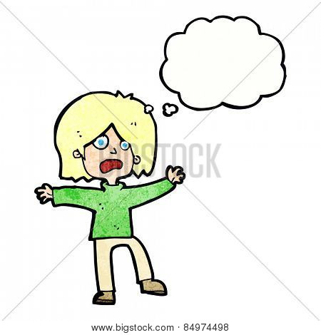 cartoon unhappy person with thought bubble