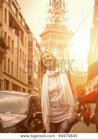 Happiness Woman on the street in Paris under sunlight