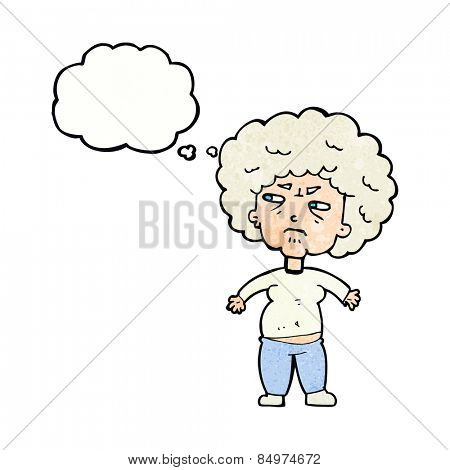 cartoon annoyed old woman with thought bubble