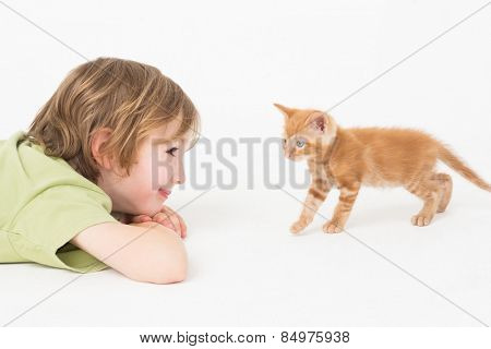 Side view of boy watching kitten walking on white background