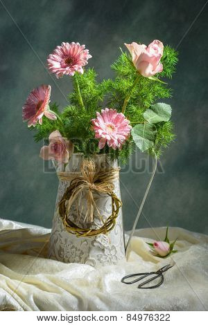 Spring floral bouquet with pink gerbera and roses