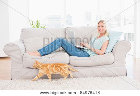Portrait of woman using laptop on sofa while cat passing by at home