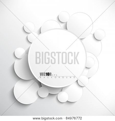 Big round white blank frame in the middle of overlapping circles with shadow eps10 vector background