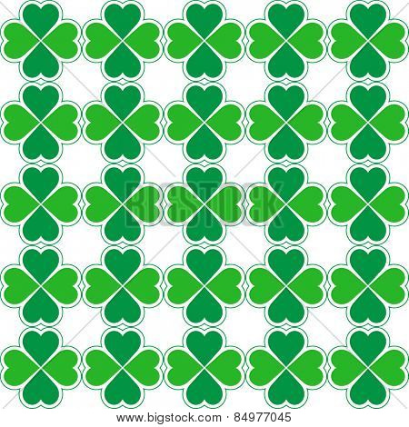 Seamless pattern of green clovers. Vector ornament.