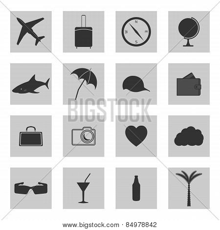 Set Of Icons Travel, Vector Illustration.