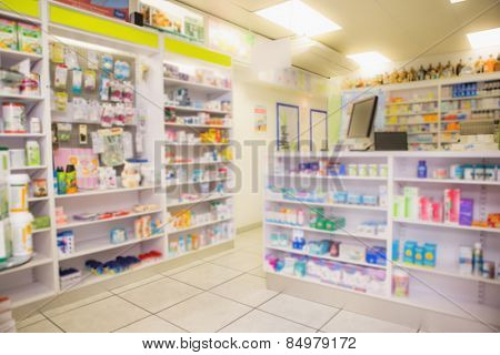 Close up of shelves of drugs in the pharmacy