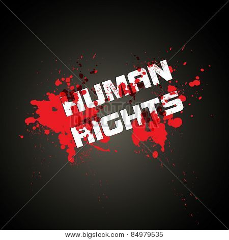 HUMAN RIGHTS red blood background