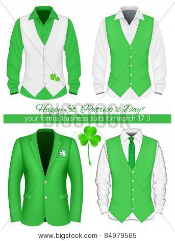 Happy Saint Patrick's Day! Formal men business suits for March 17.