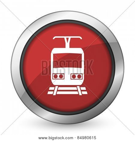 train red icon public transport sign