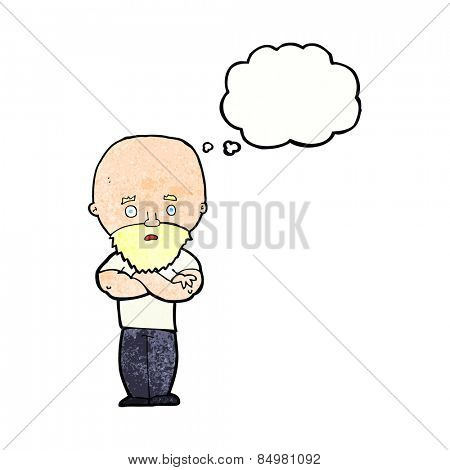 cartoon shocked bald man with beard with thought bubble