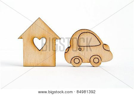 Wooden House With Hole In The Form Of Heart With Car Icon On White Background