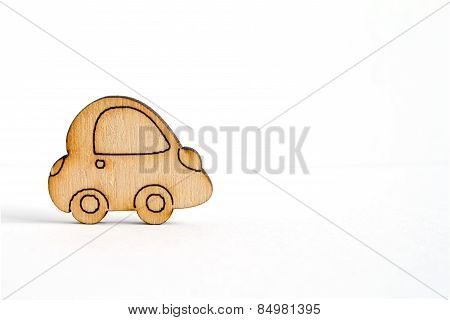 Wooden Car Icon On White Background