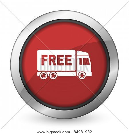 free delivery red icon transport sign