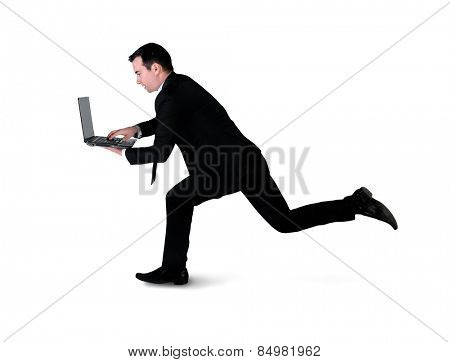 Isolated business man run with laptop