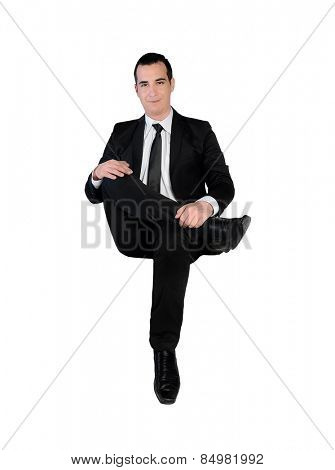 Isolated business man happy looking camera