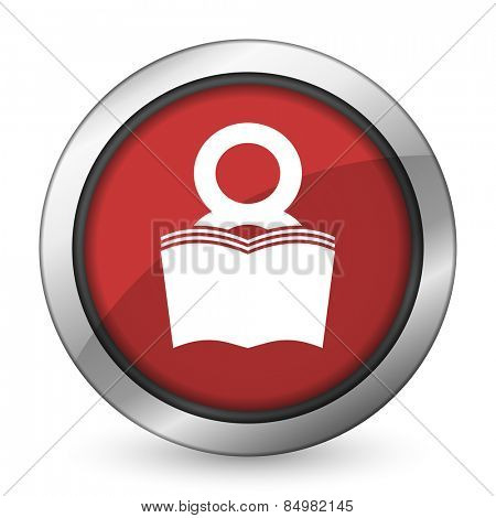 book red icon reading room sign bookshop symbol