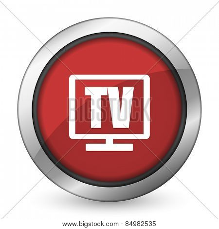 tv red icon television sign