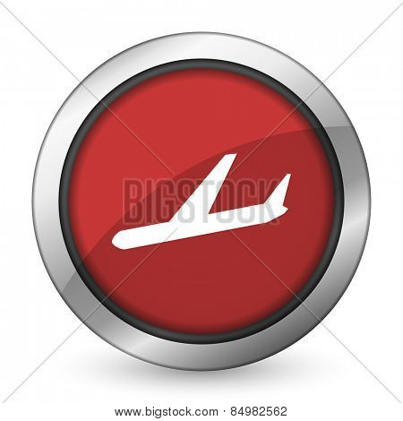 arrivals red icon plane sign