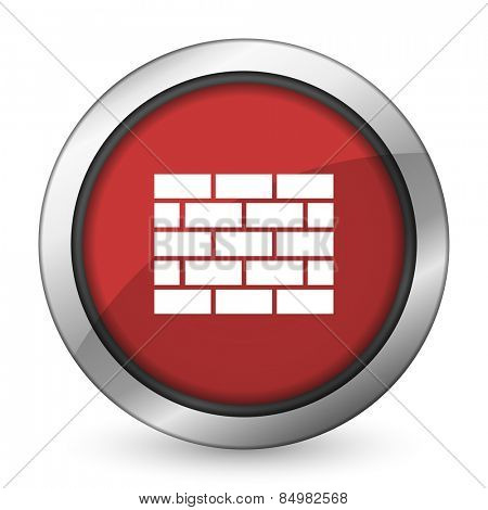 firewall red icon brick wall sign