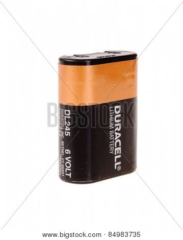 Hayward, CA - March 1, 2015: Duracell DL 245 Lithium 6 volt battery used in film cameras