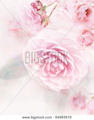 Digital Painting Of Pink Roses