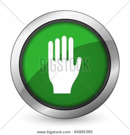 stop green icon hand sign