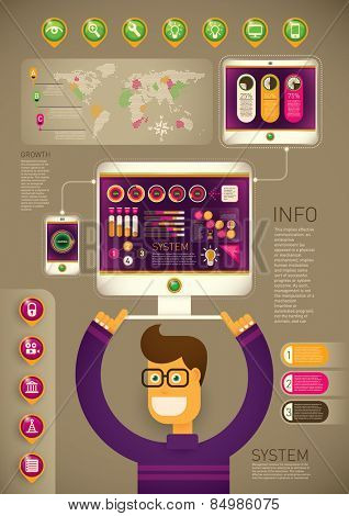 Technology background with comic guy. Vector illustration.