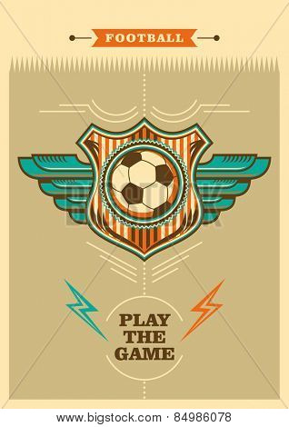 Retro football poster with coat of arms. Vector illustration.