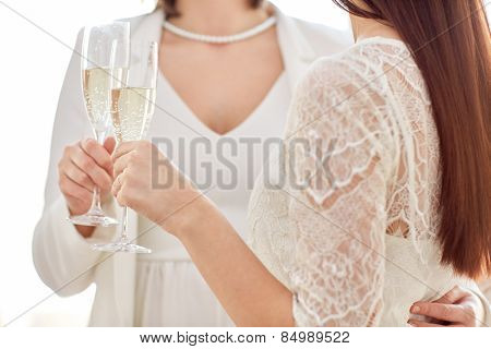 people, homosexuality, same-sex marriage, celebration and love concept - close up of happy married lesbian couple holding and clinking champagne glasses