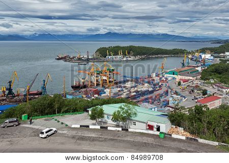View On Seaport Petropavlovsk-kamchatsky City. Russia, Far East, Kamchatka, Avacha Bay