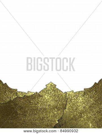 Abstract Gold Nameplate With Gold Trim Isolated White Background. Design Template