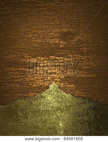 Cracked Texture With Gold Edge. Template Design.