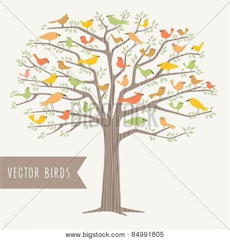 many different stylized birds perched in a big tree in Springtime