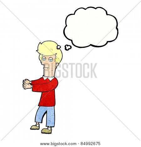cartoon bored man showing the way with thought bubble