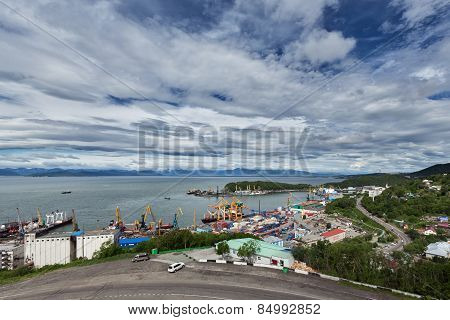 View On Commercial Seaport Petropavlovsk-kamchatsky City. Russia, Far East, Kamchatka, Avacha Bay