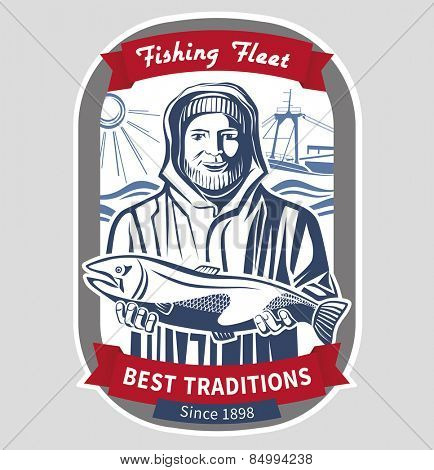 Fisherman emblem. Vector illustration.