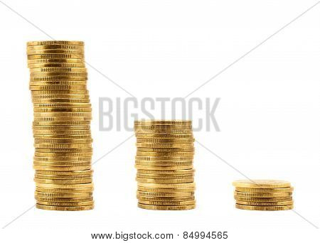Stack of metal coins isolated