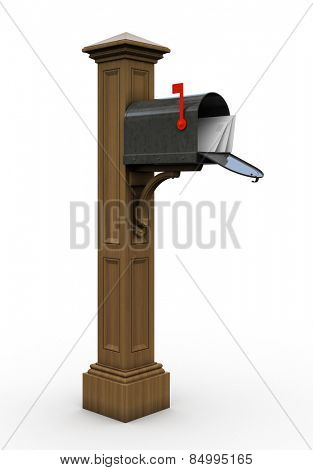 Retro open mailbox isolated on white background