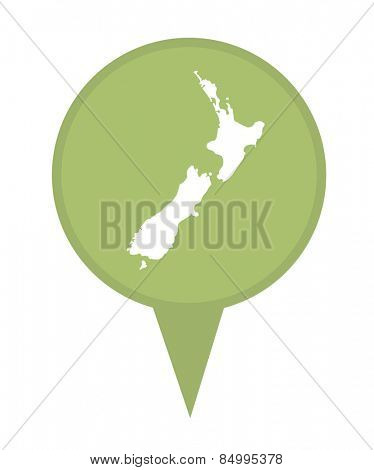 New Zealand map marker pin isolated on a white background.